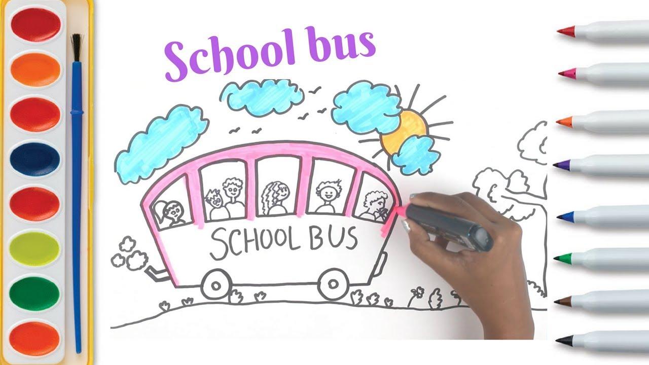 How To Draw Cartoon School Bus