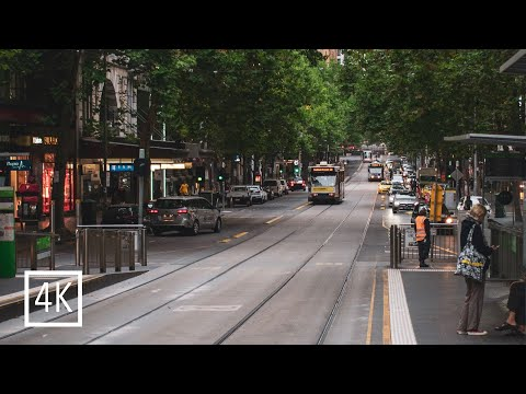 Walking tour in Melbourne CBD (City center), Australial | 4K  cloudy day| City sound and information