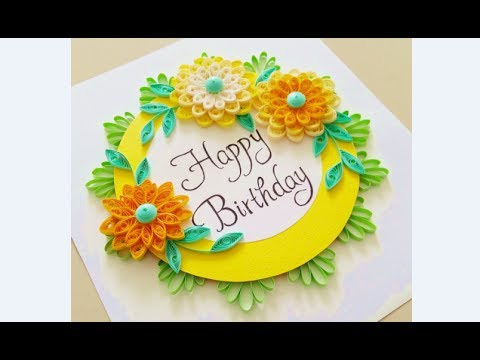 Paper Quilling Flower Card Design Birthday