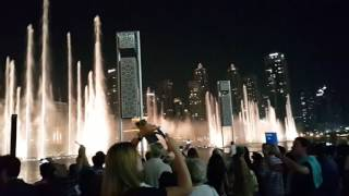Dubai Fountain show with James Bond music on Christmas day 25.12.2016