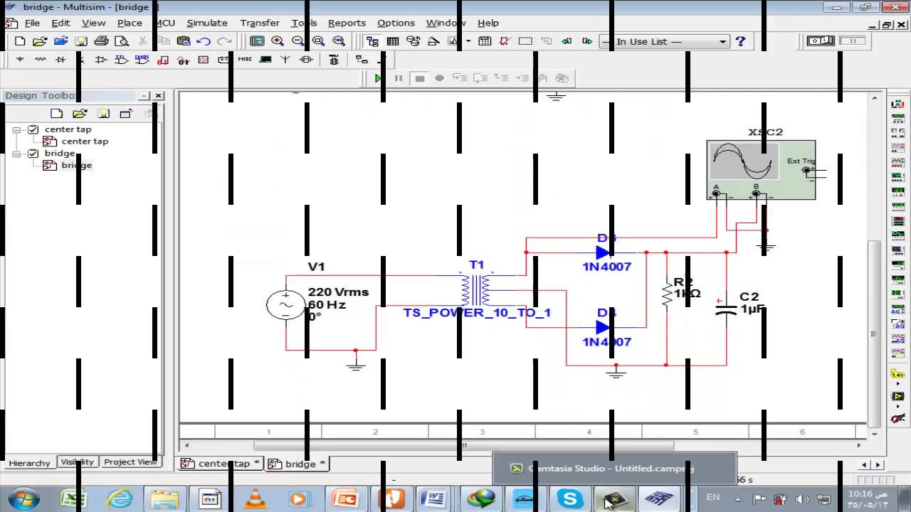 Full Wave Rectifier With Multisim Youtube Diagram
