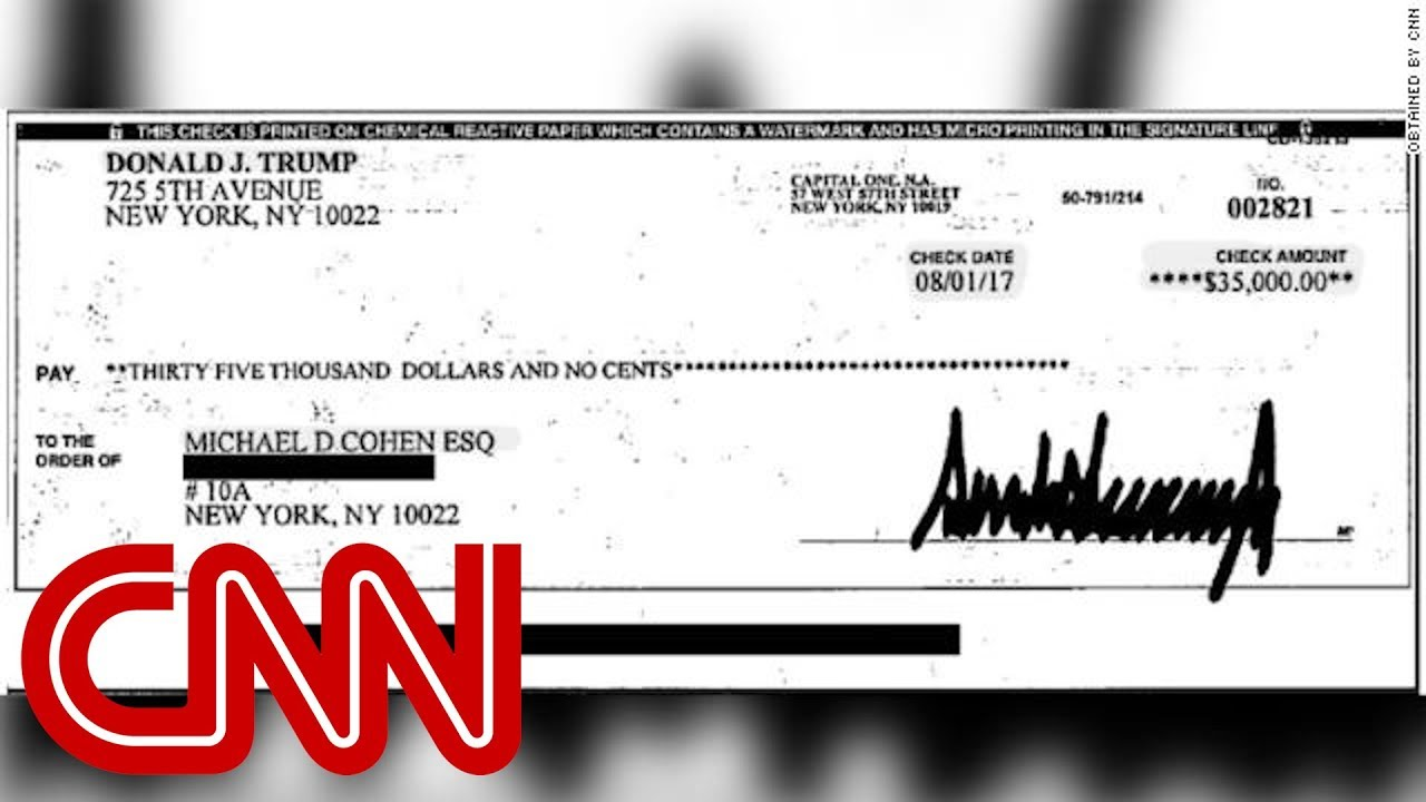 See copy of check allegedly signed by Trump