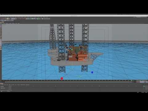 helicopter and jack up rig scene