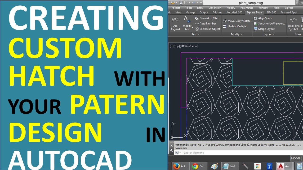 Creating custom Hatch with your Own Pattern Design in AutoCAD  Hatch with a Block  YouTube