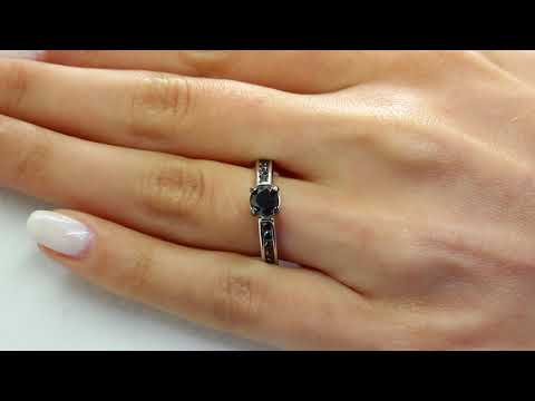 1 CTW Round Cut Black Diamond Channel Set Engagement Ring in 10K White Gold (MDR130079)