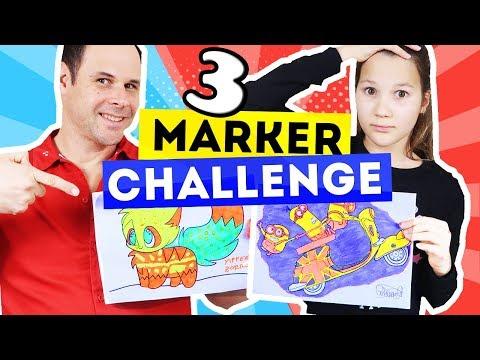 3 MARKER CHALLENGE   Coloreando Con Rotuladores   Daniela Golubeva