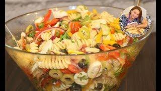 САЛАТ С ПАСТОЙ, СЫРОМ  МОЦАРЕЛЛА  И ОВОЩАМИ ( Pasta salad )