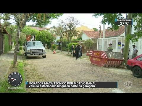 Morador mata técnico de rede elétrica por bloquear parte de garagem | SBT Brasil (26/10/17)