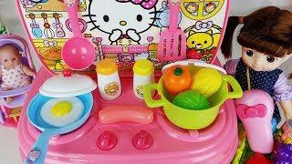 Baby Doll kitchen cooking food and Mart register toys play 아기인형 주방놀이와 마트 계산대 장난감 음식 요리놀이 - 토이몽