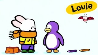 Penguin - Louie draw me a Penguin | Learn to draw, cartoon for children