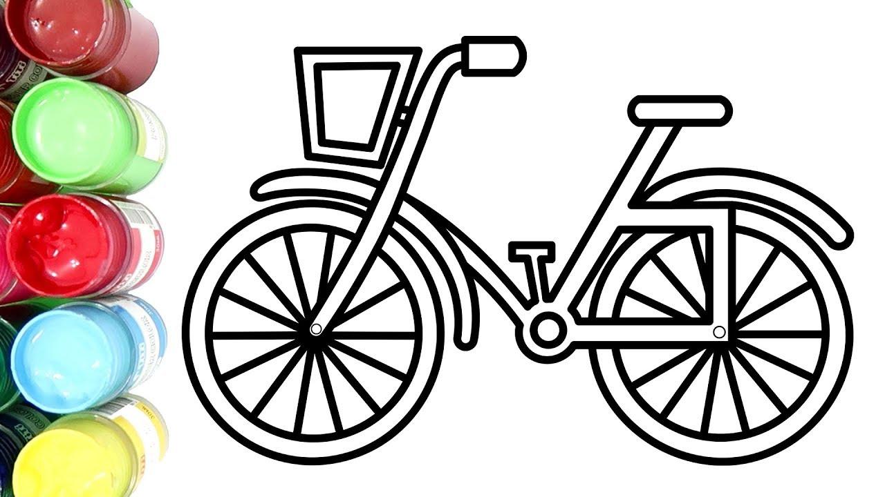 Cara Menggambar Dan Mewarnai Sepeda Anak Dengan Cat Air
