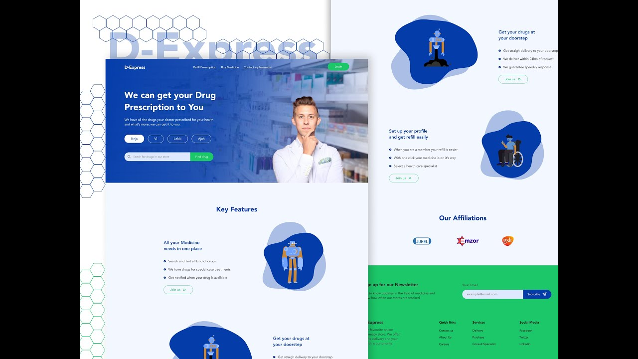 Create A Ui Design In 30 Mins With Figma Pharmacy Landing Page Youtube