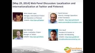 L10n and i18n at Twitter and Pinterest(This webinar discusses localization and global management of social media content, and centers around the following three topics: 1. Localization strategy in ..., 2015-11-25T09:45:51.000Z)
