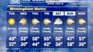 """This local forecast, featuring the weatherstar xl, aired on twc in january 2003. music is """"misg desert home"""" by steven glotzer. all copyrights acknowledg..."""