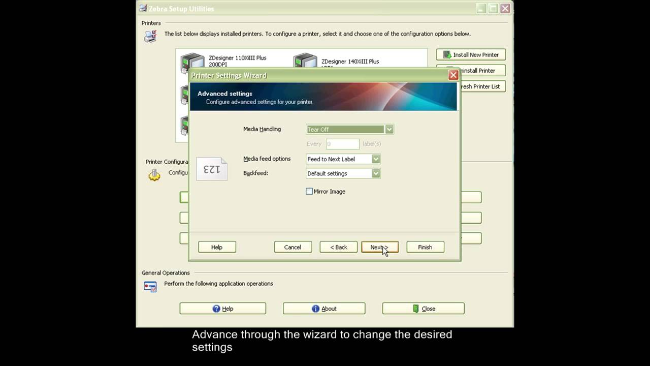 ZEBRA - Configure Printer Settings