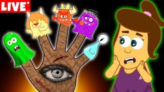 The Five Spooky Monster Finger Family | Halloween Songs for Kids by Annie and Ben | LIVE 🔴