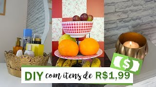 DIY - DECORAÇÃO BARATA COM ITENS DE R$1,99 (fruteira de mesa, bandeja e porta-vela)