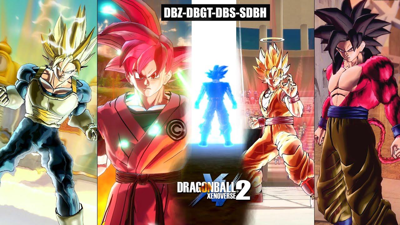Goku's All New Anime Transformations (DBZ-DBGT-DBS-SDBH) - Dragon Ball Xenoverse 2 All Forms of Goku