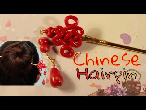 DIY Chinese Hairpin/Hair Stick (发簪, 中国结) | Sophie and Toffee Box Creation | Polymer Clay Tutorial