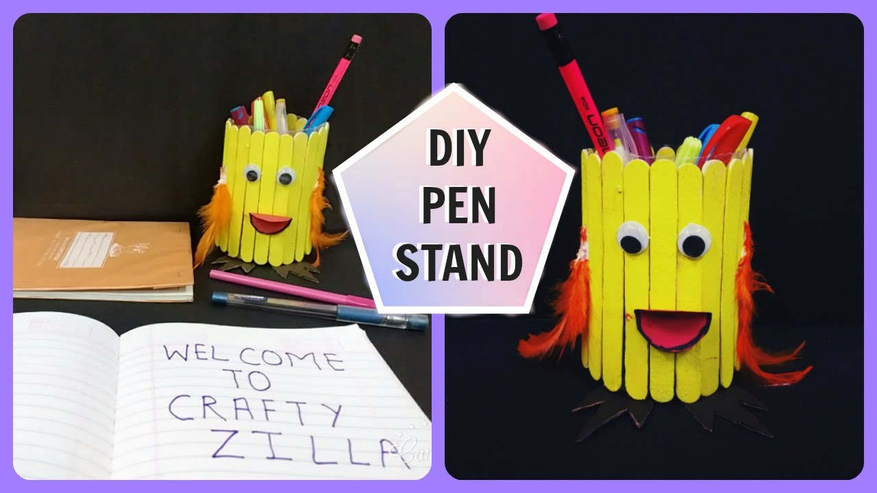 Diy pen stand best out of waste ice cream sticks pen for Best out of waste ideas from ice cream stick