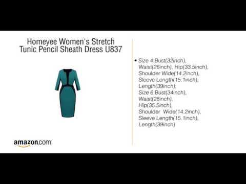 c07f31c9 Homeyee Women's Stretch Tunic Pencil Sheath Dress U837 - YouTube