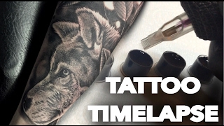 TATTOO TIME LAPSE | REALISTIC WOLF | CHRISSY LEE TV
