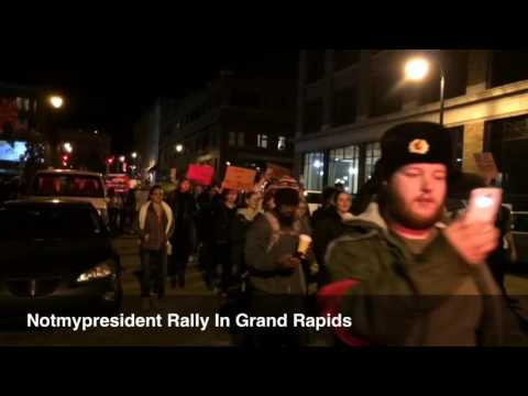 Not My President rally in Grand Rapids