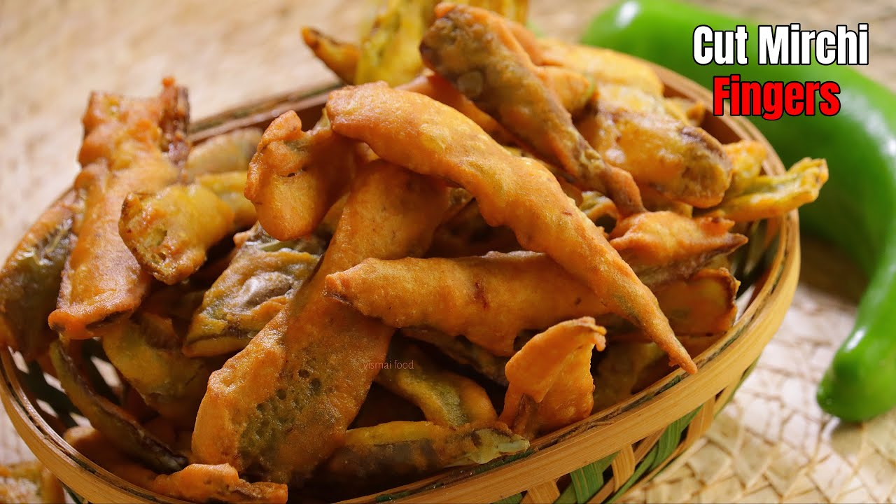 కట్ మిర్చీ ఫింగర్స్|cut mirchi fingers recipe at home by vismai food| mirchi bajji recipe in telugu