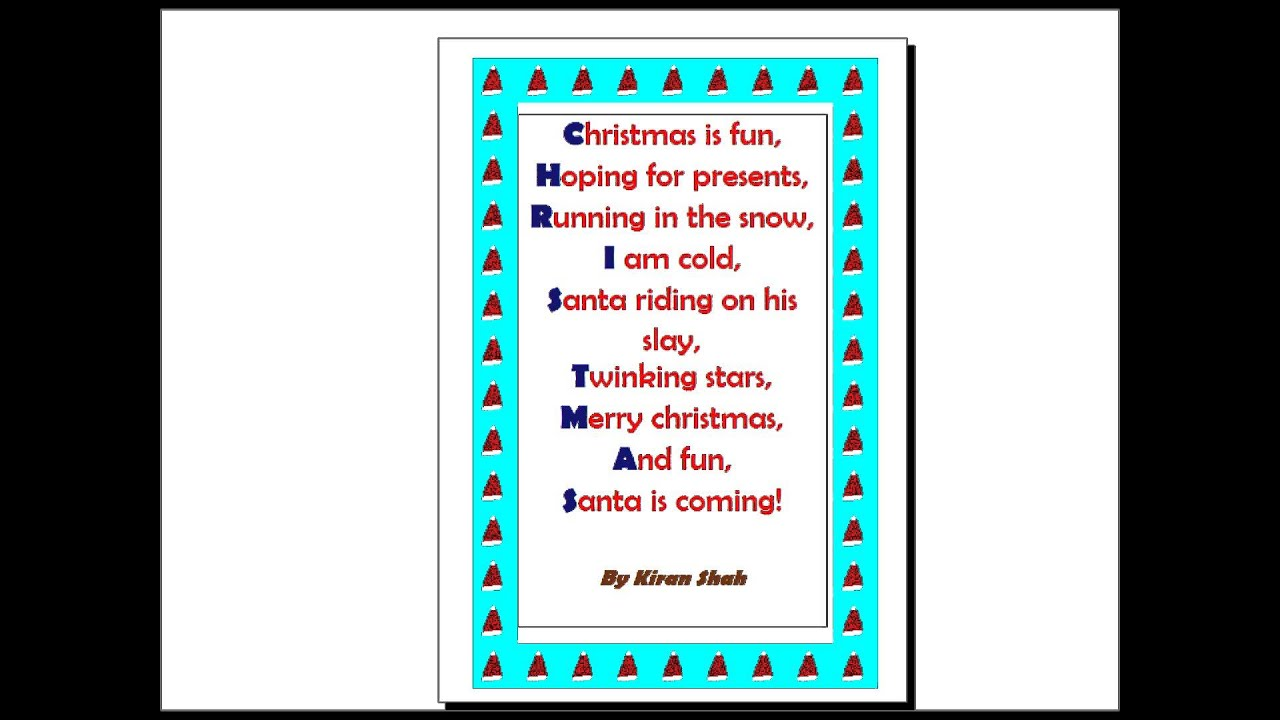 Form 2 Winter Festival Acrostic Poems Youtube