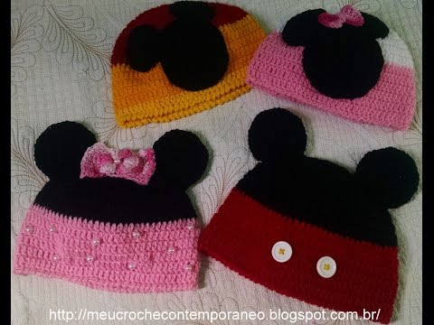 Touca Mickey e Minnie Tamanho de 4 a 6 Anos 1ª parte Base para as toucas.  Meu Crochê Contemporâneo 0487dbf2bad