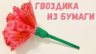 ГВОЗДИКА из БУМАГИ на 9 МАЯ Как сделать цветы из бумаги и салфеток ПОДЕЛКИ своими руками (Эмилия)