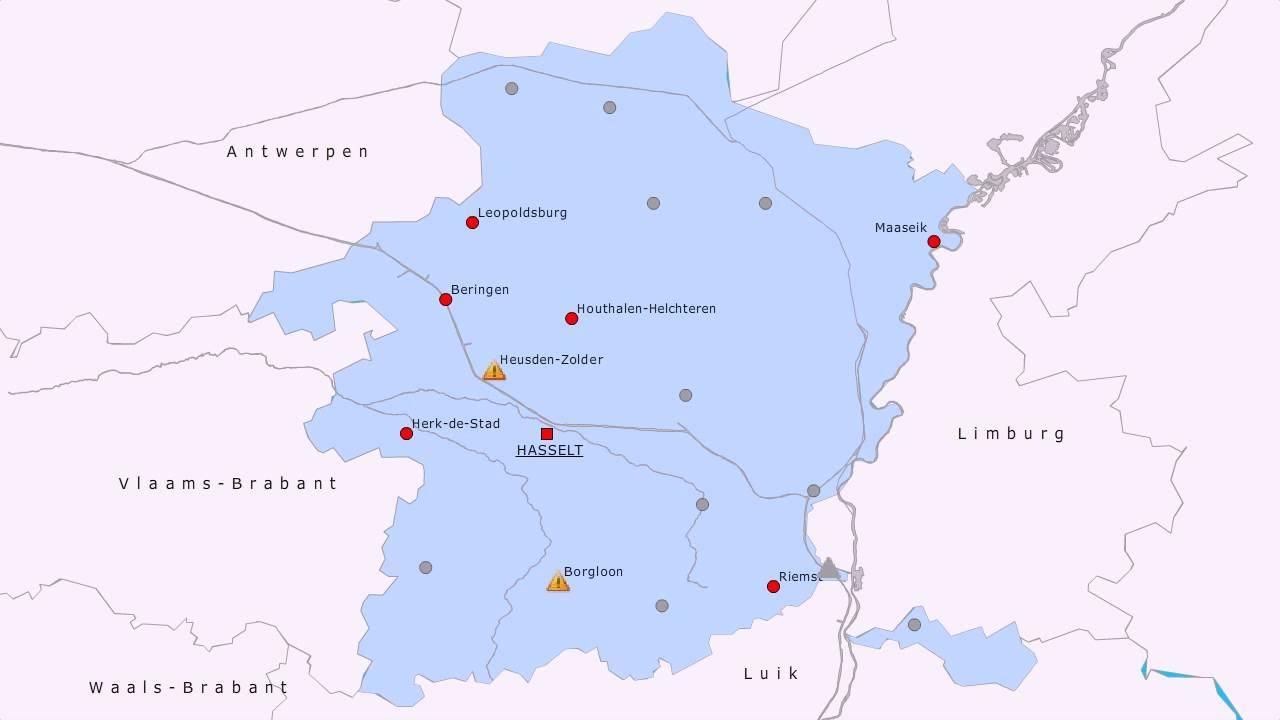 Topografie Provincie Limburg Belgie Www Topomania Net