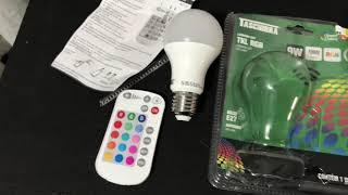 Unboxing e review Lâmpada led RGB 9W Taschibra controle remoto