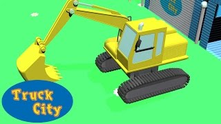 truck city   excavator construction of swimming pool slide   construction game cartoon for kids