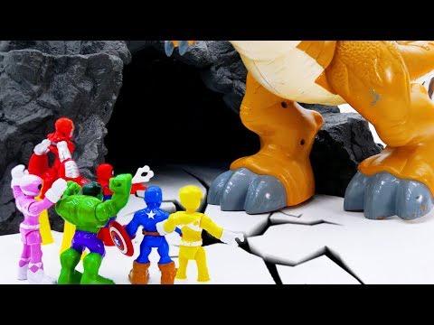 Power Rangers & Marvel Avengers Toys Pretend Play | T-REX Attack Superhero