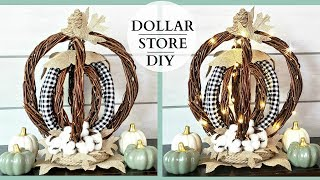 Dollar Tree DIY ~ Rustic Wicker Pumpkin ~ Fall Farmhouse Decor!