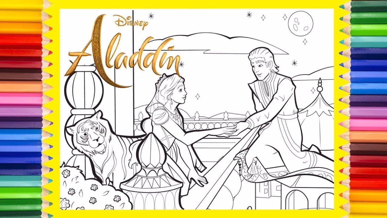 Disney Aladdin Live Action Coloring Page Prince Ali Princess Jasmine Youtube