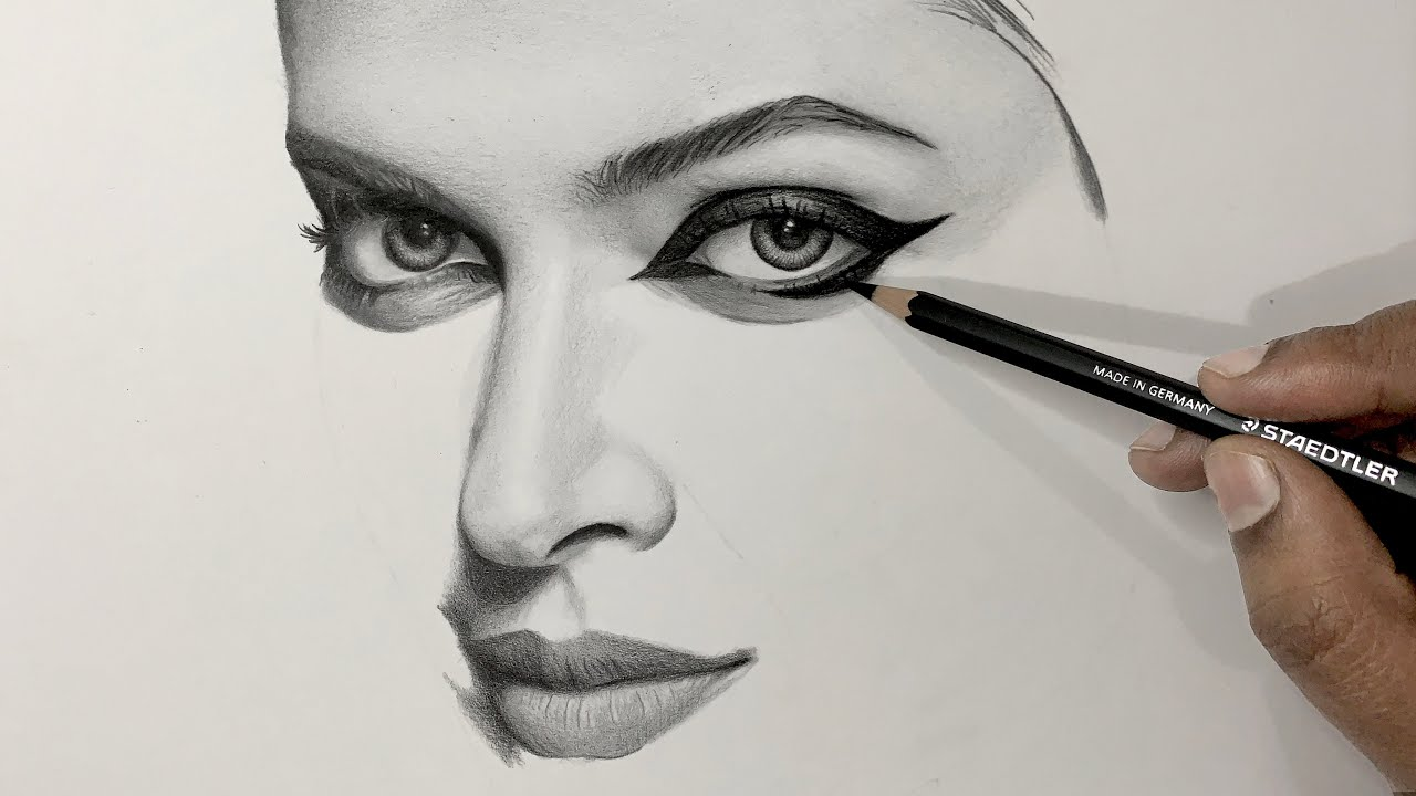 How to draw - PART 2 - Shading realistic skin tones, nose and lips with graphite pencils.