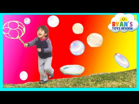 Family Fun with Bubble Fun Pond Bubbles Lawn Mower and Gazillion Bubble Hurricane Machine Kids Video