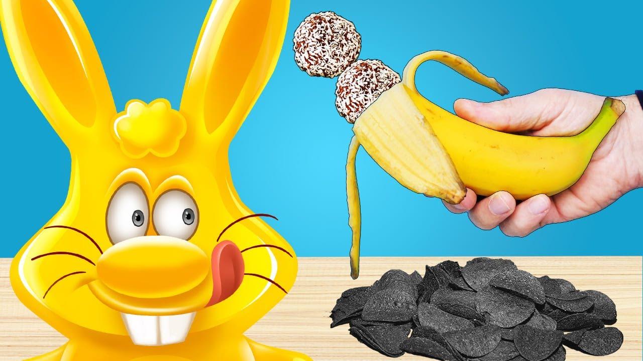 Черные чипсы или банановые шарики для желейного зайца Харитона