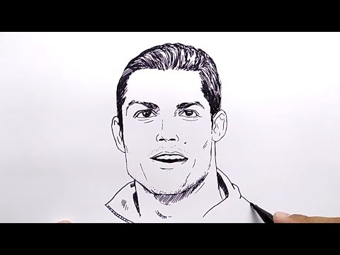 Very Easy How To Draw Cr7 Ronaldo No Pencil No Eraser Tutorial Step By Step Drawing Youtube