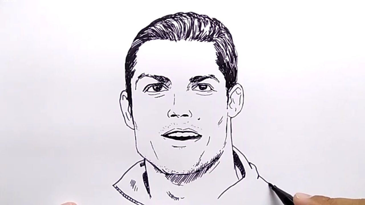 Very easy how to draw cr7 ronaldo no pencil no eraser tutorial step by step drawing