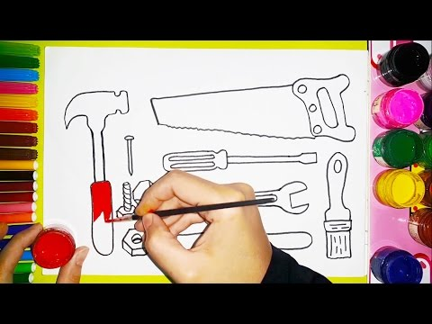How to draw and color Carpenter tools - FOR KIDS