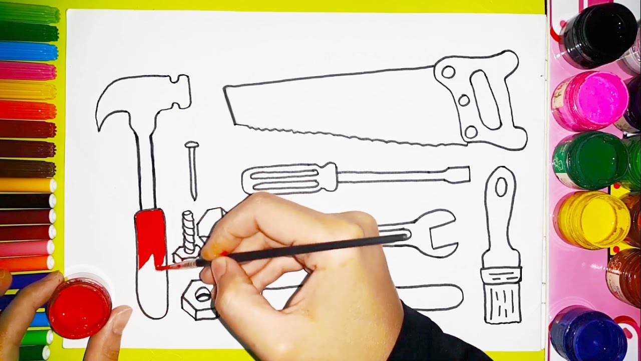 Uncategorized Kids Drawing Tools how to draw and color carpenter tools for kids youtube kids