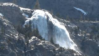 Horsetail waterfalls on June Lake Loop in Eastern Sierra in eastern California