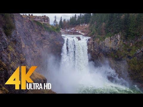 8 Hours Crashing Water Sounds - 4K Snoqualmie Falls after Heavy Rain, Washington