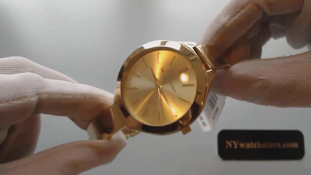 Women s Gold Tone Michael Kors Slim Runway Watch MK3275 - YouTube b6d4b338fa