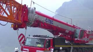 400t吊クレーン油圧チルトジブ解体
