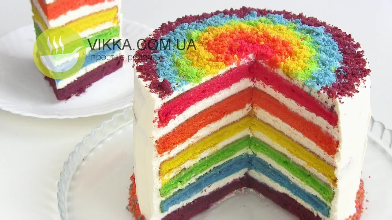 торт с разноцветными коржами пошаговый рецепт