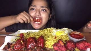 MASALA MAGGI WITH GRAVY LOLLIPOP AND DRY LOLLIPOP AND OMELETTE | EATING SOUNDS | INDIAN MUKBANG